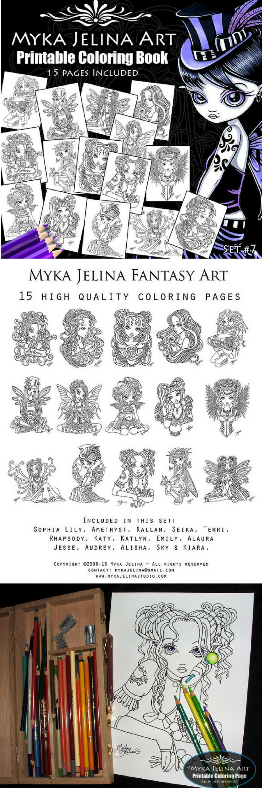 Printable adult coloring book set pages myka jelina art