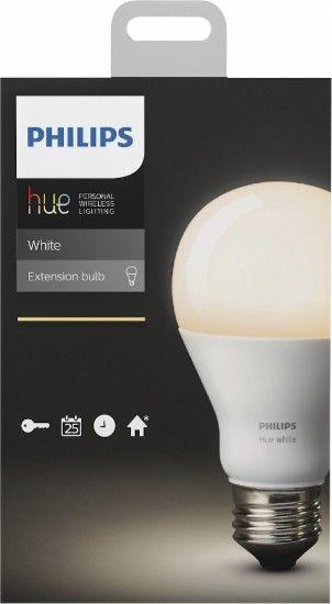Best Buy Philips Hue White A19 Smart Led Bulb White 455295 Hue Philips Led Bulb Packaging Bulb