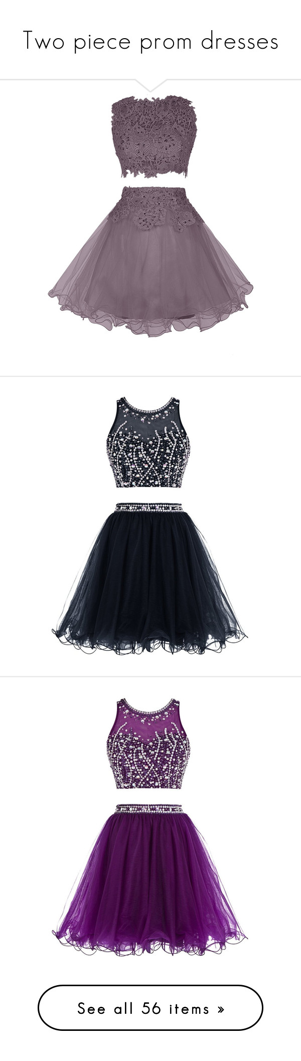 Two Piece Prom Dresses By Oxwhatsernamexo Liked On Polyvore Featuring Dresses Outfits Pr Tulle Dress Short Short Cocktail Prom Dresses Purple Short Dress [ 2113 x 600 Pixel ]