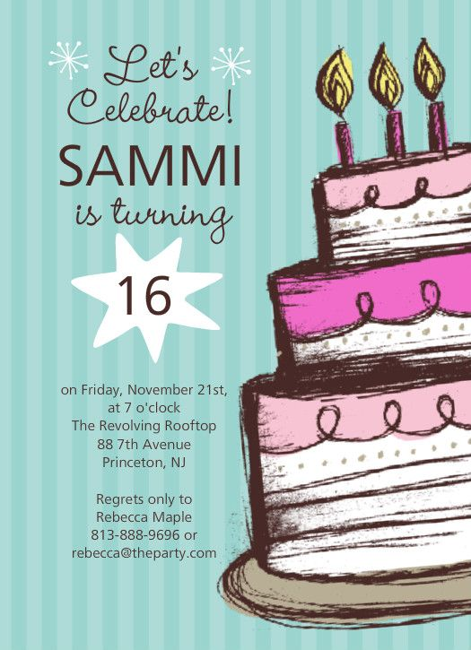 Pin By Fanis Soeherdjito On Card Pinterest Birthdays - Contoh invitation card sweet seventeen birthday party