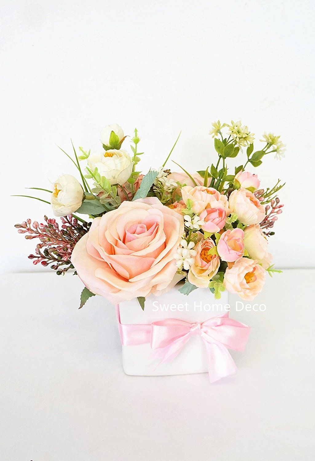 Sweet Home Deco Spring Floral Arrangment Silk Rose Fake Berry w ...