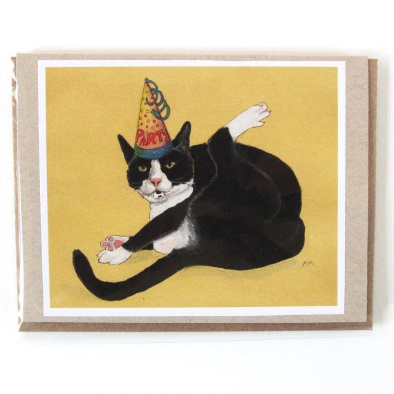 Greeting card tuxedo cat party animal birthday or blank cat greeting card tuxedo cat party animal birthday or blank cat birthday card bookmarktalkfo Choice Image