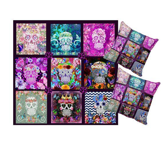 Sugar Skull Duvet Cover Set Quilt Pattern by FolkandFunky on Etsy ... : sugar skull quilt pattern - Adamdwight.com