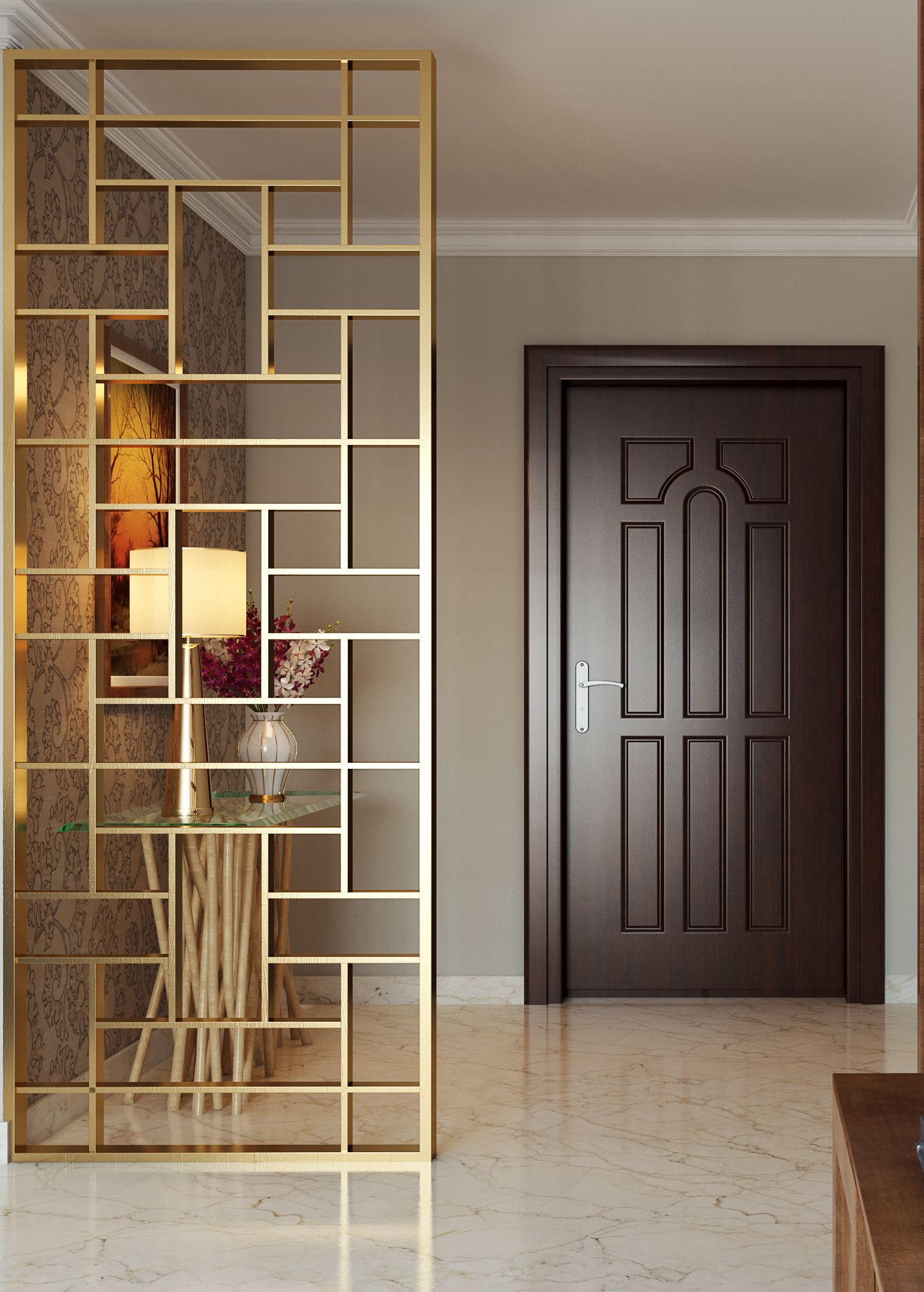 Interior Design Room Dividers: Choose A Contemporary Gold Divider To