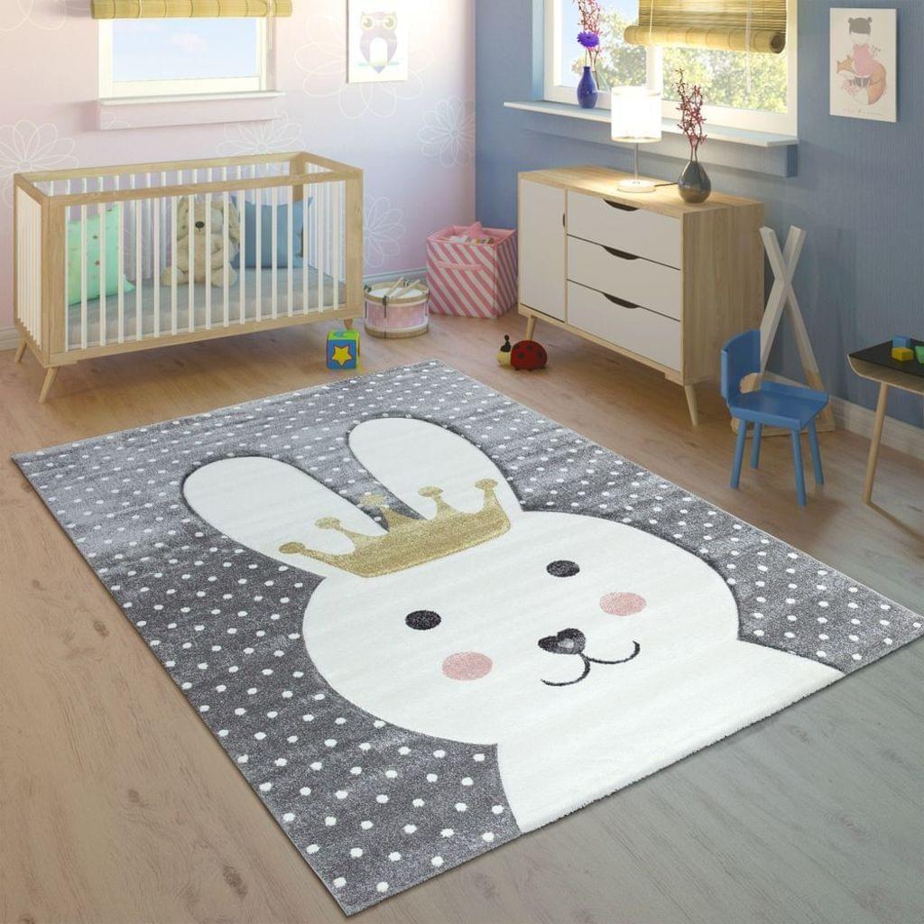 Kinderteppich Kinderzimmer Konturenschnitt Gepunktet Hase