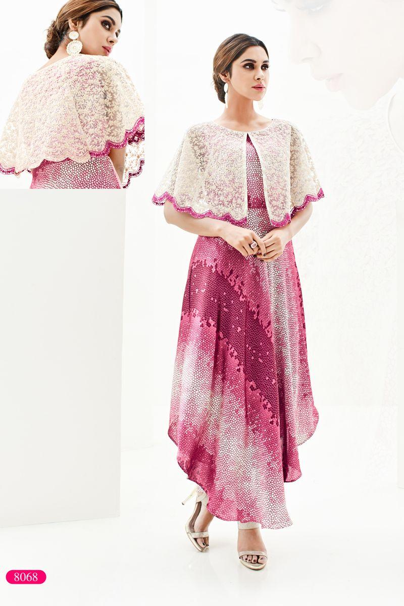 6e7caf7fa Pink Designer Stylish Party Wear Kurti With Embroidary Work Saysa Vol 9  Arihant Designer Catalog 8068