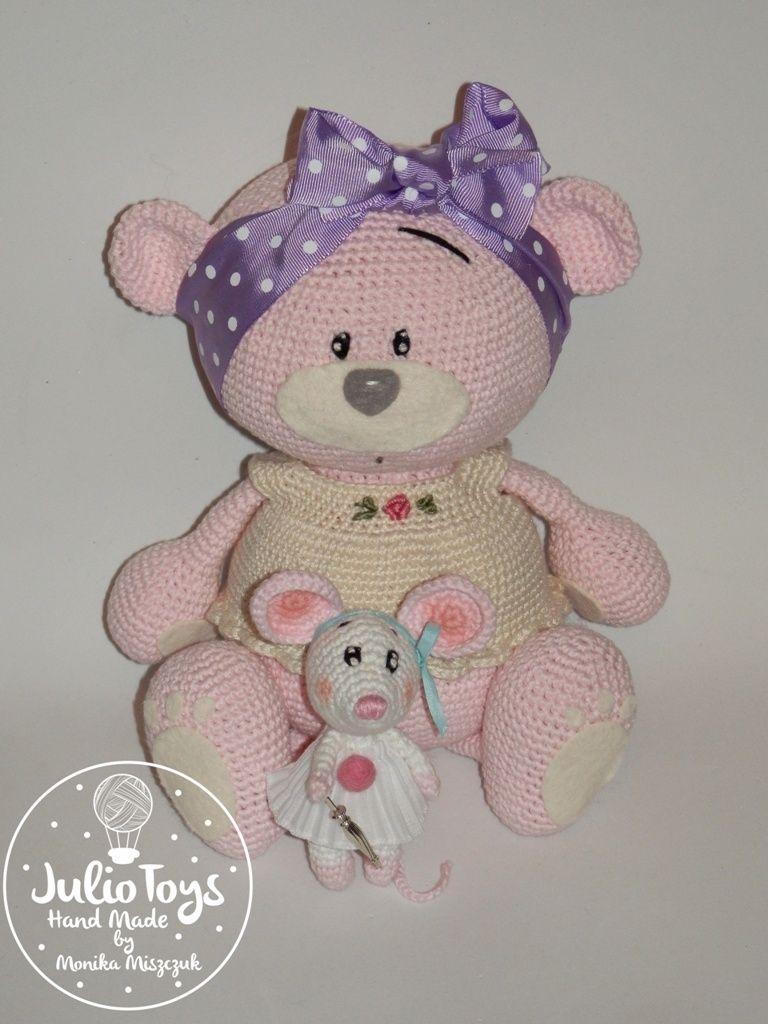 pink crochet teddy bear by Julio Toys https://www.etsy.com/listing ...