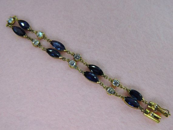 Vintage Nature Blue Sapphire & Diamond Bracelet. by AsiaHeirlooms, $3580.00