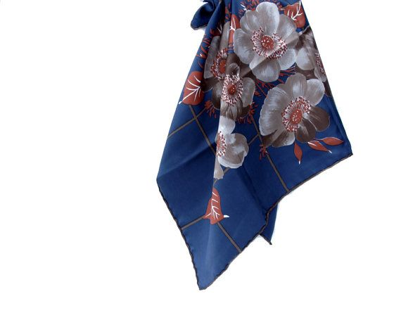 Vintage Scarf by Estee Leveque  Hand Rolled Square Navy by soStyle, $14.00
