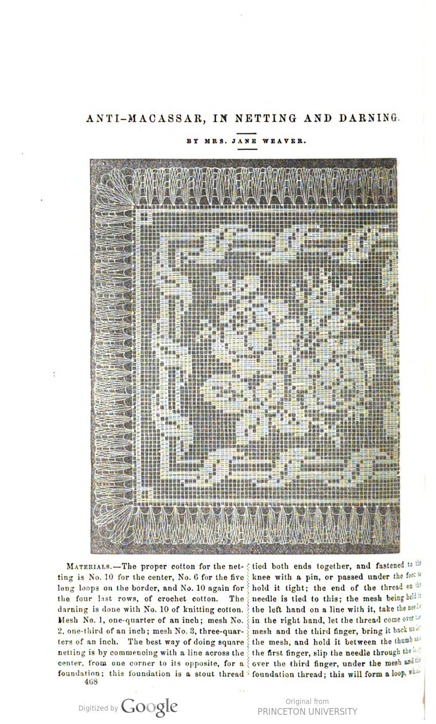 Image of page antimacassar in netting and darning petersonus