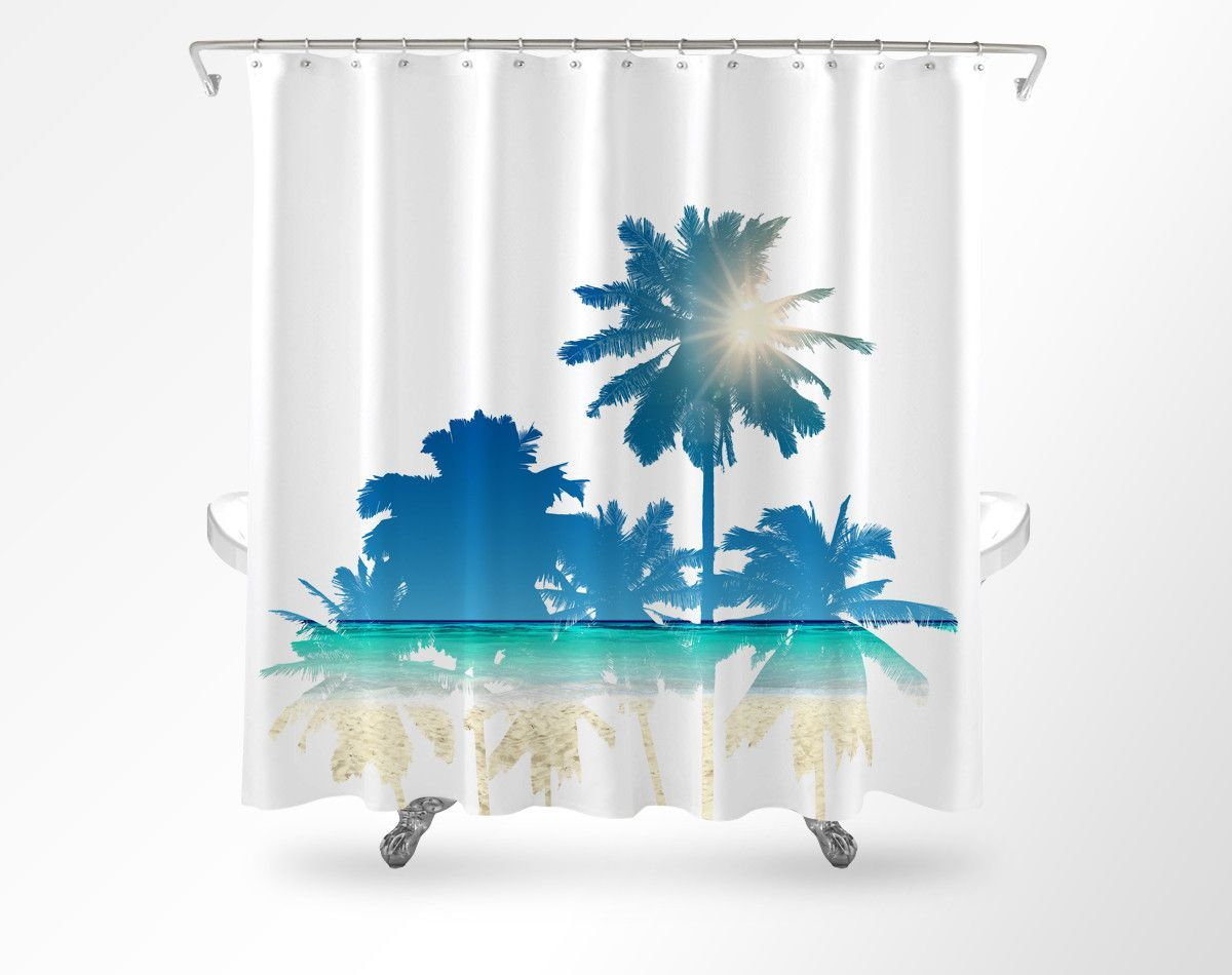 Palm Tree Beach Scene Shower Curtain Cool Shower Curtains Beach