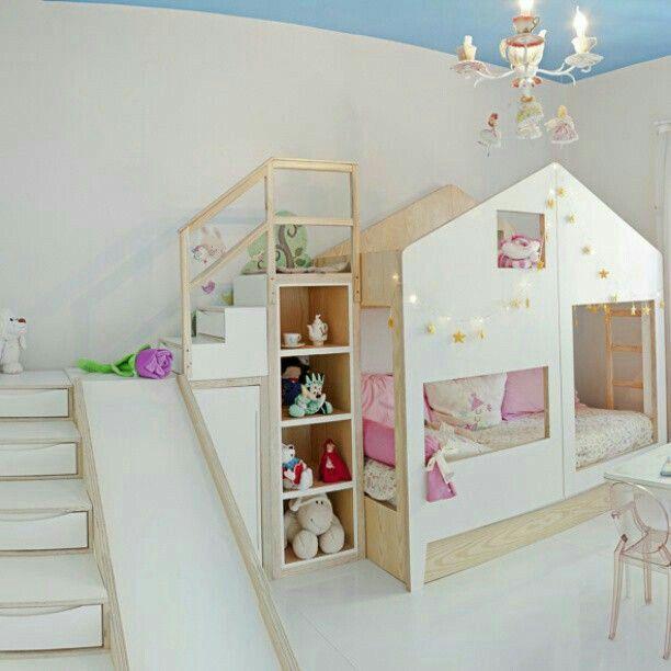 Pin by Petra Vacušková on postýlky | Bunk bed with slide ...