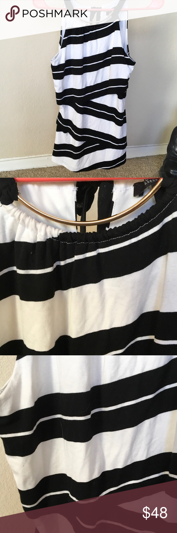 """WHite House Black Market Diagonal Stripes XXS❣️ Unusual top by WHBM, diagonal  cut fabric stripes on each segment, revealing a flattering slimming definition. Stretchy Blend of Poly, Spandex, Rayon. Back ties with black 🎀 sheer ribbon, front has a goldtone choker built into top. XXS 15"""" UA-UA White House Black Market Tops"""