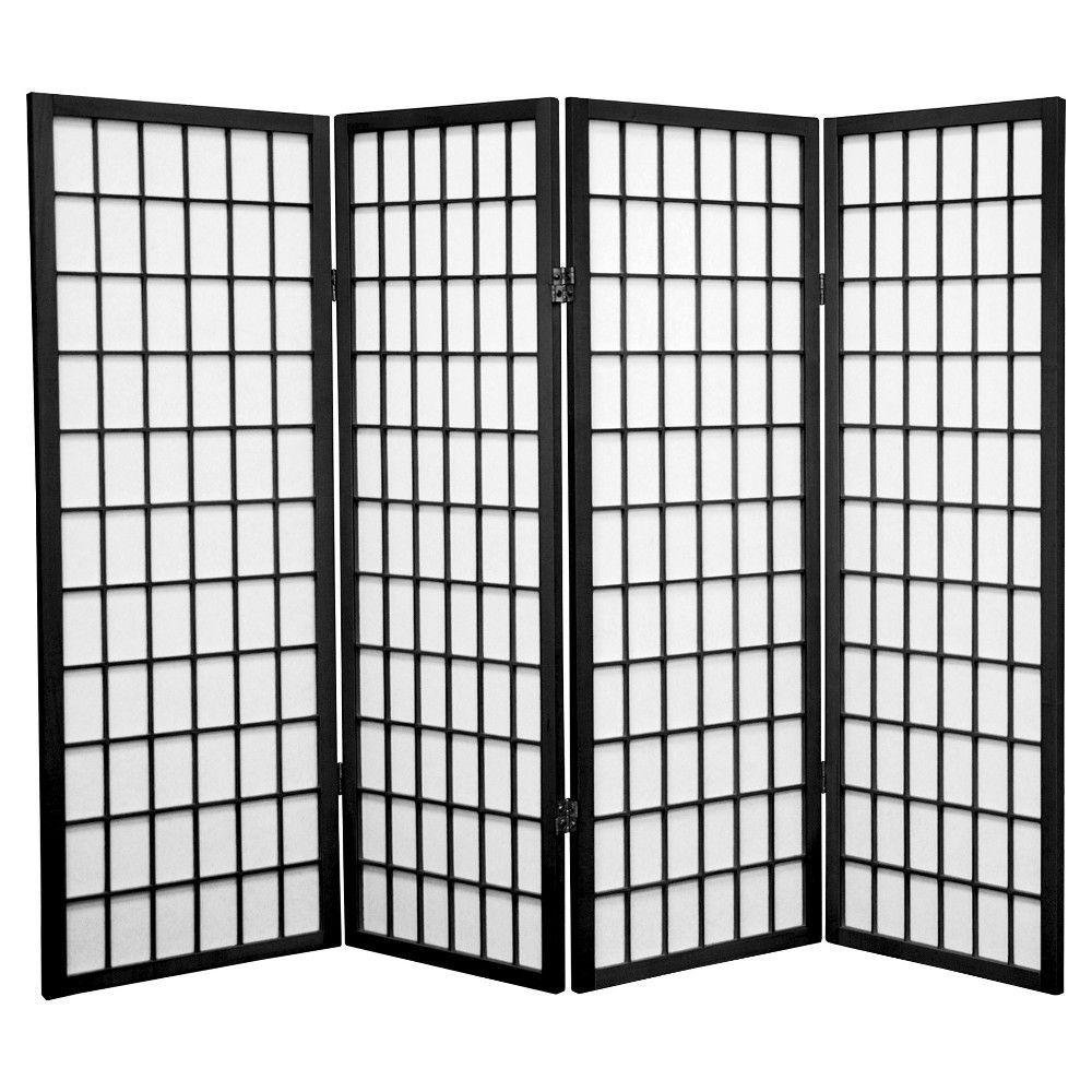 4 Ft Tall Window Pane Shoji Screen Black 4 Panels Shoji Screen Panel Room Divider Shoji Screen Room Divider