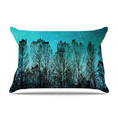 East Urban Home Dark Forest by Sylvia Cook Trees Featherweight Pillow Sham