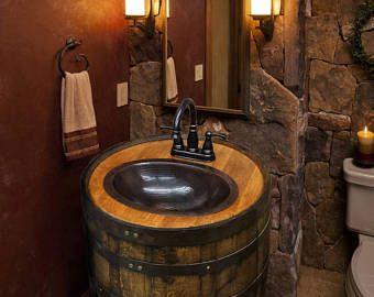 Man Cave Vanity : Whiskey barrel sink hammered copper rustic antique bathroom bar