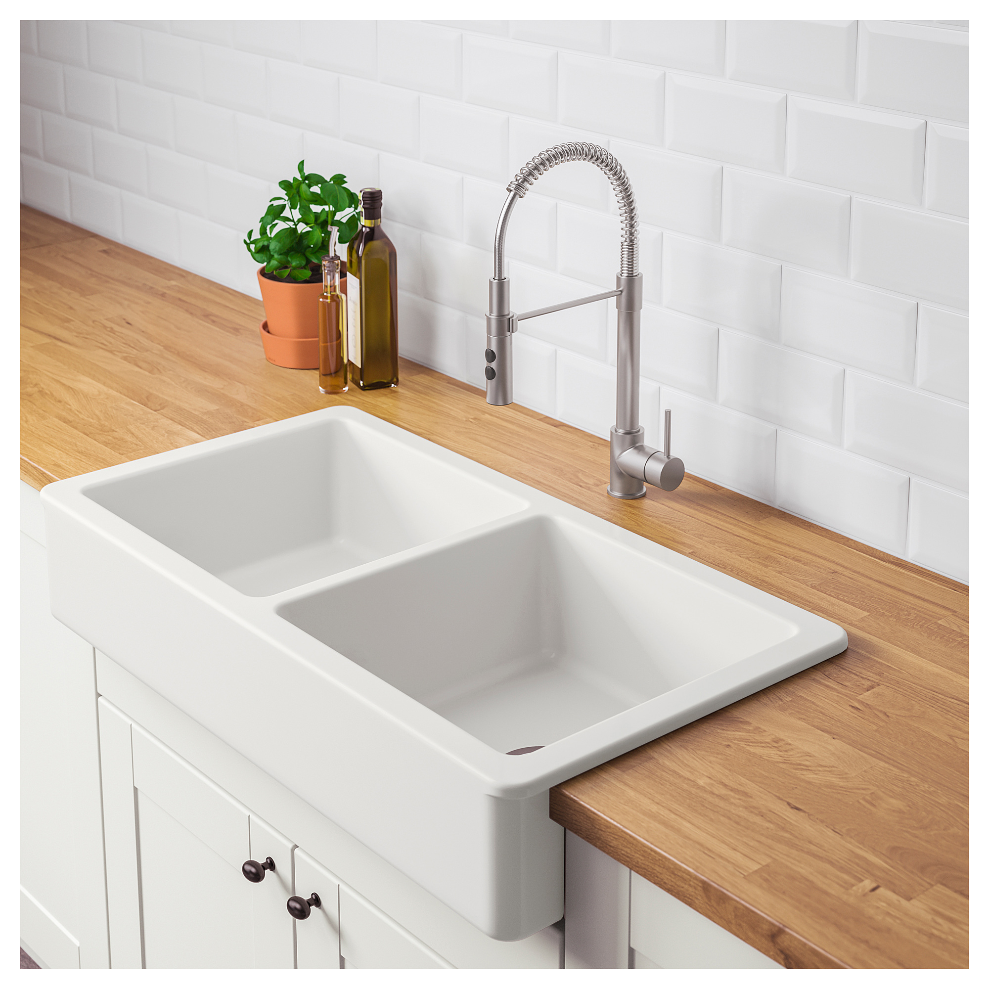 Ikea Farmers Sink: IKEA HAVSEN White Apron Front Double Bowl Sink