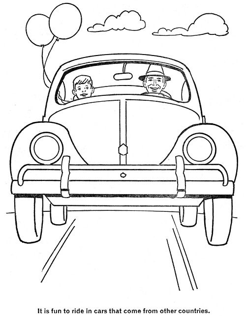 from Golden Funtime Cars and Trucks, cut out coloring book