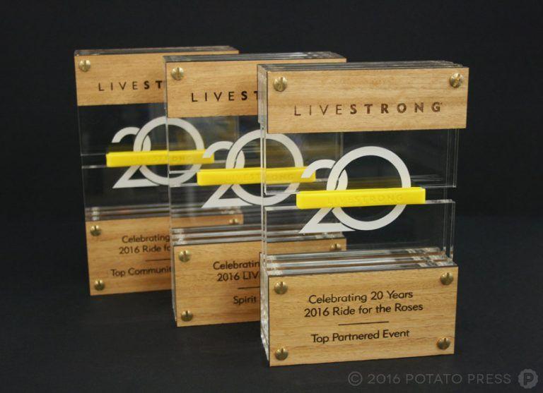 Potato Press Livestrong Award Trophy Laser Etched Wooden