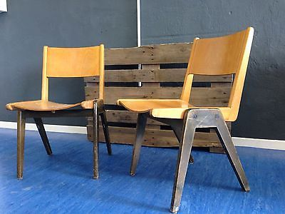 2x holzstuhl vintage drehstuhl stuhl antik industriestuhl 70er alt stapelstuhl st hle. Black Bedroom Furniture Sets. Home Design Ideas