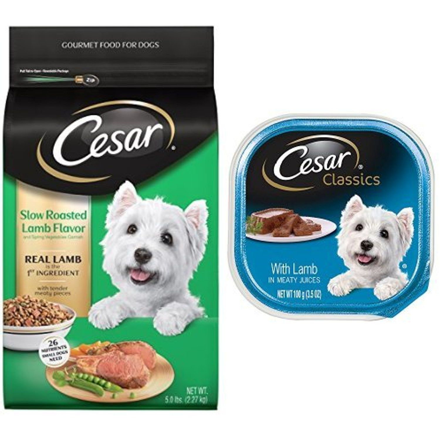 Cesar Small Dog Food Variety Pack With 5 Lb Bag Of Slow Roasted