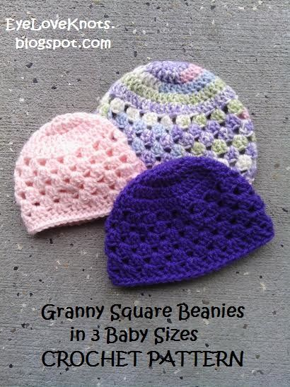 EyeLoveKnots: UPDATED! Granny Square Beanie in 3 Baby Sizes - Free ...