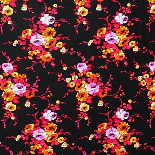 ab259c1e02a Fuchsia Orange Floral on Black Cotton Spandex Blend Knit Fabric - Soft  rayon spandex cotton jersey blend knit with fuchsia pink, orange, gold  color floral ...