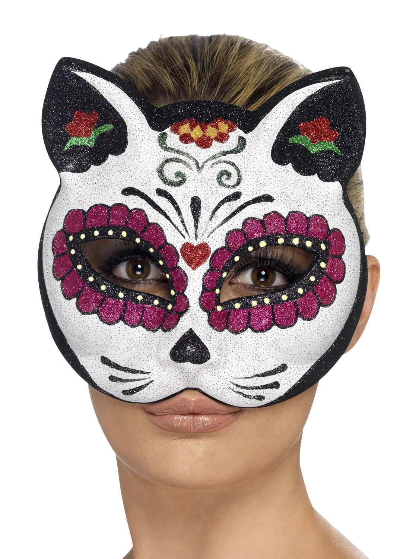 Details about Ladies Sugar Skull Skeleton Cat Halloween
