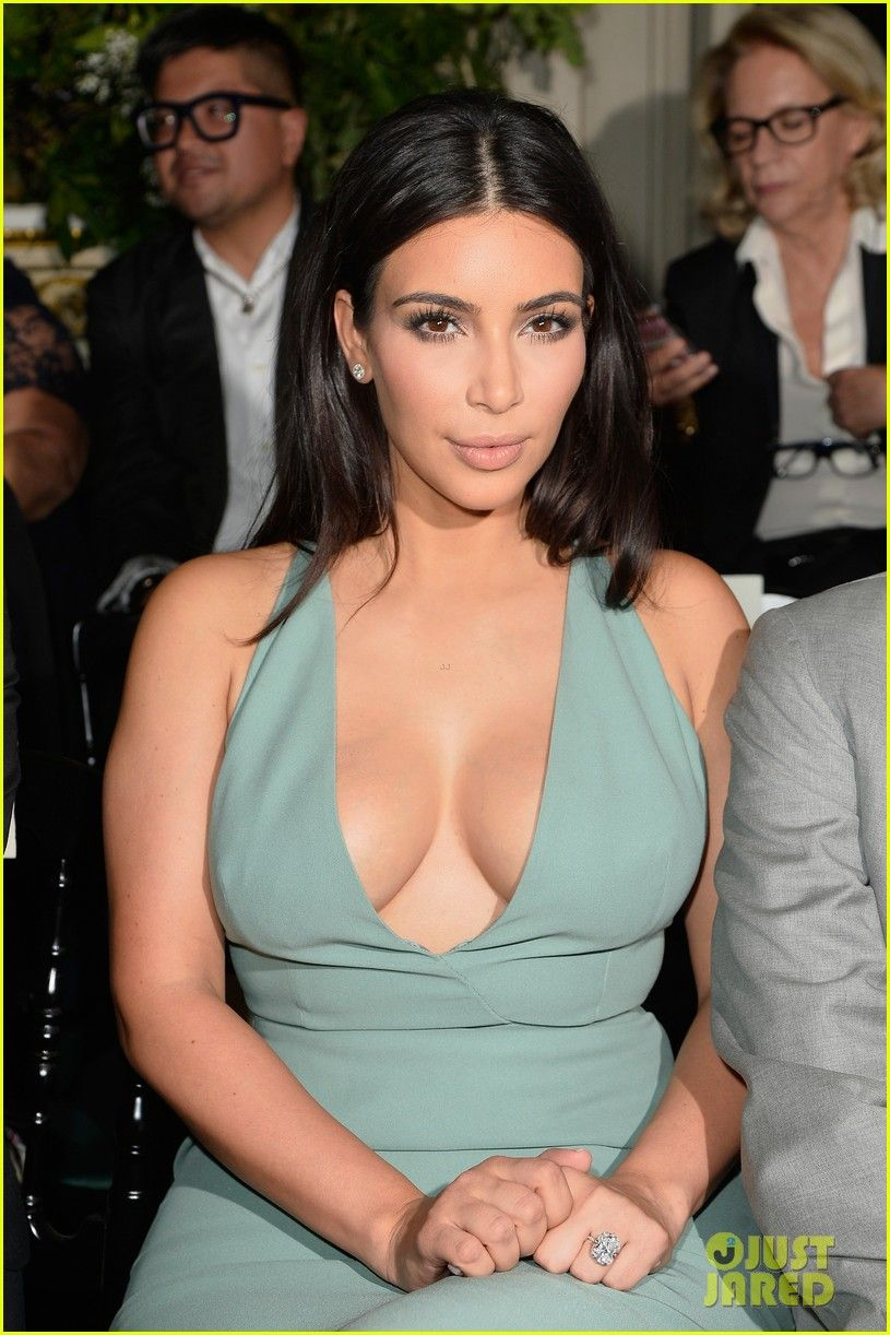 Kim Kardashian Displays Lots of Cleavage at Valentino Haute Couture Show
