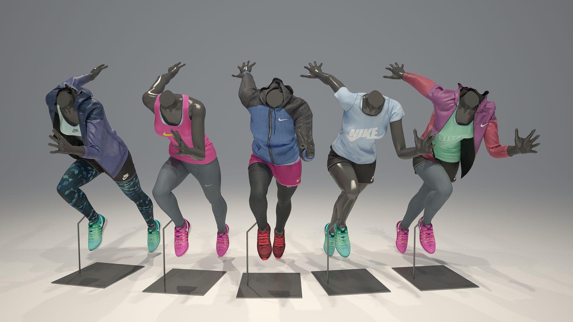 Female mannequin Nike pack 4 3D model Female, Mannequins