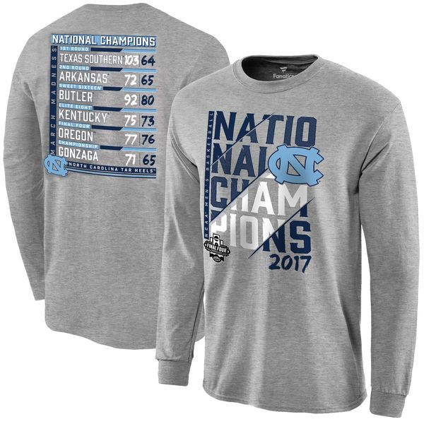 a8f1533183a North Carolina Tar Heels Fanatics Branded 2017 NCAA Men s Basketball National  Champions Ocotillo Schedule Long Sleeve T-Shirt - Heather Gray