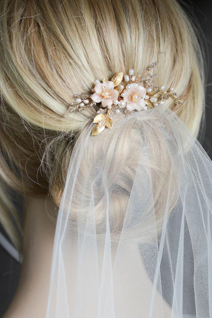 BESPOKE for Marcella | Pearl bridal hair comb with blush flowers | TANIA MARAS