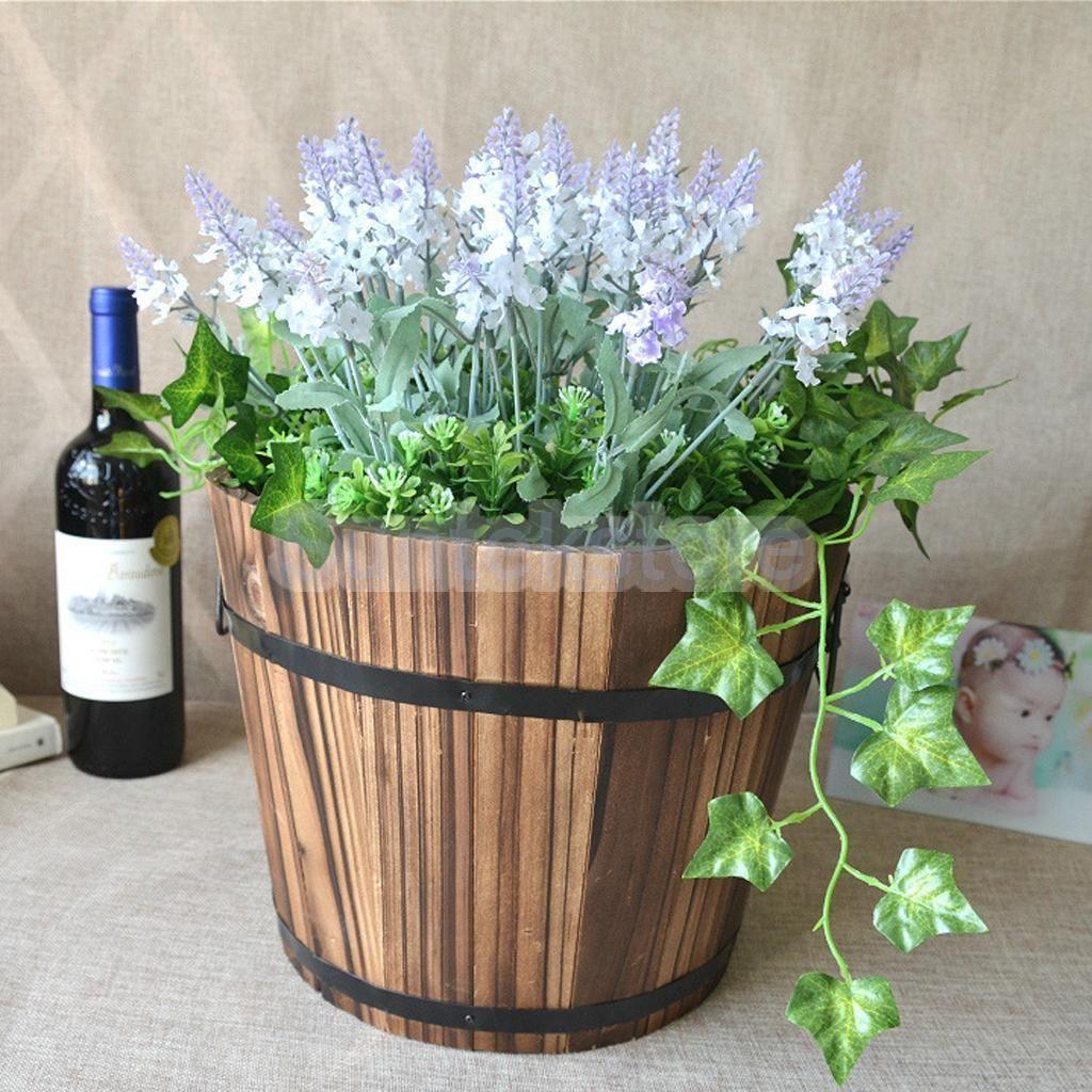 $4.99 - Outdoor Garden Planter Lawn Wooden Flower Plant Pot Decor ...
