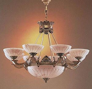 Spanish Original Hand Carved Alabaster Chandeliers Chandelier
