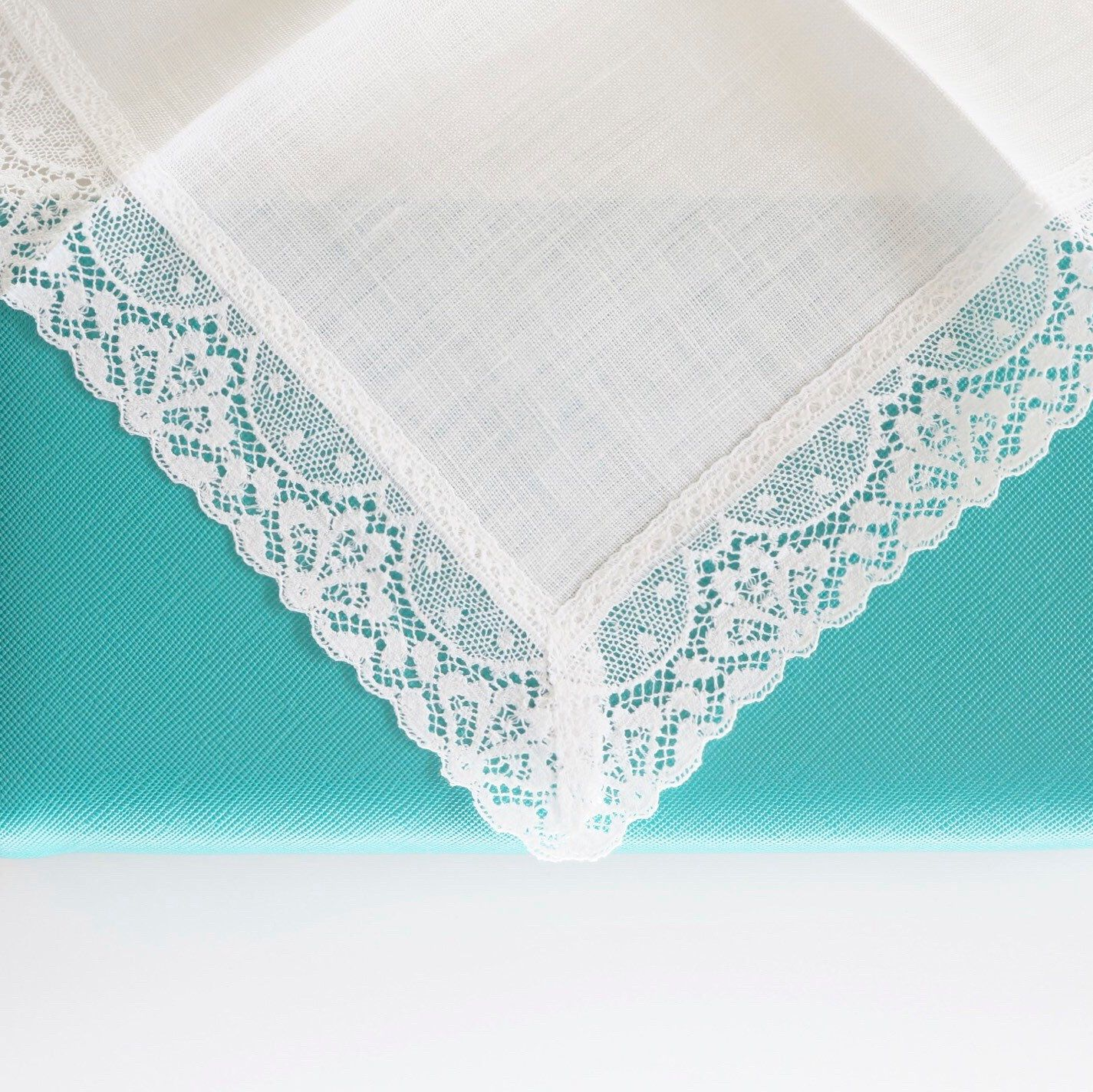 100% Irish Linen lace handkerchief for gift giving and weddings.