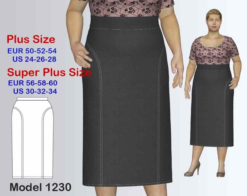 Long business plus size skirt sewing pattern pdf womenus sizes