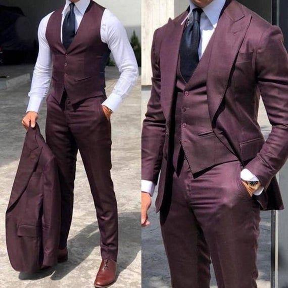Men Suits 3 Piece Formal Fashion Slim Fit Suit, Wine Wedding One Button Groom Wear Party Wear Suit For Men – Clothes