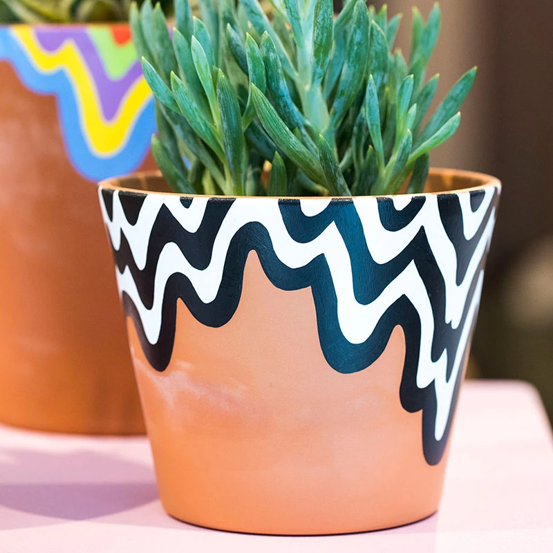 hand painted planter Big planter planter colourful planter hand painted pottery cache pot ceramic planter hand made planter