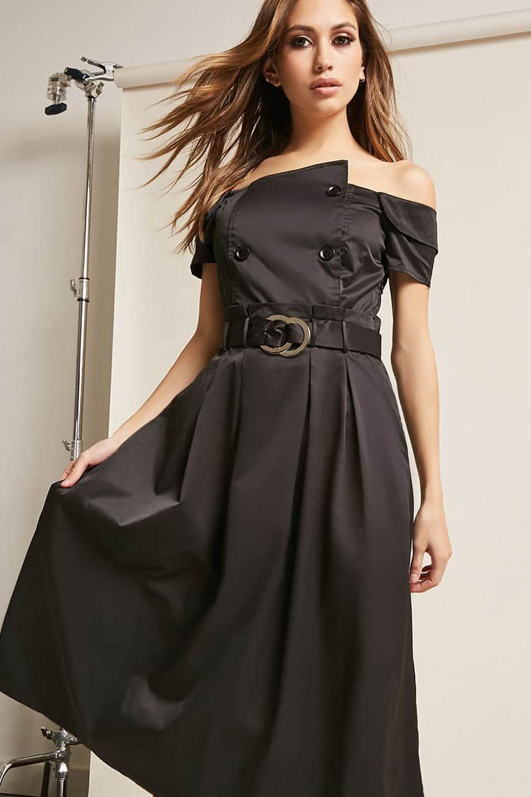 Offtheshoulder trench dress gowns and party dresses pinterest