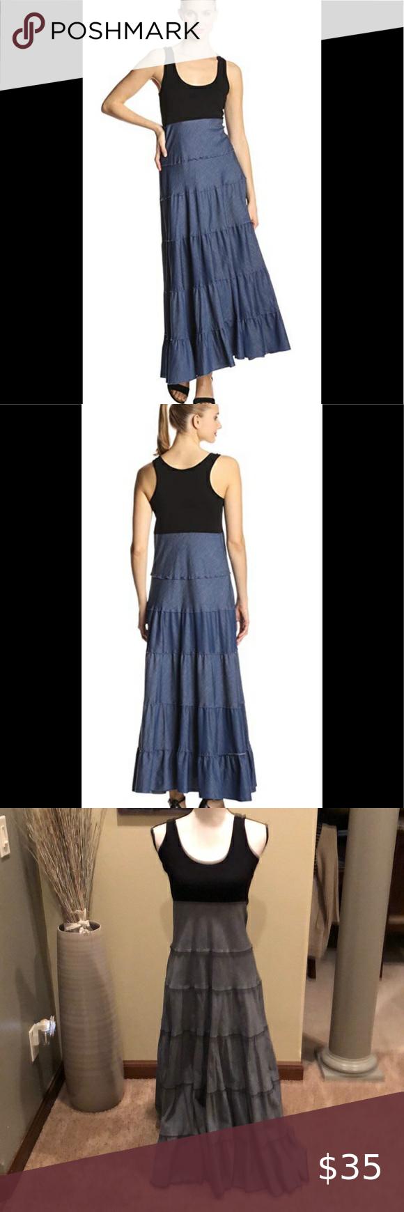 Karen Kane Chambray Denim Tiered Maxi Dress Xs Tiered Maxi Dress Maxi Tank Dress Maxi Dress [ 1740 x 580 Pixel ]