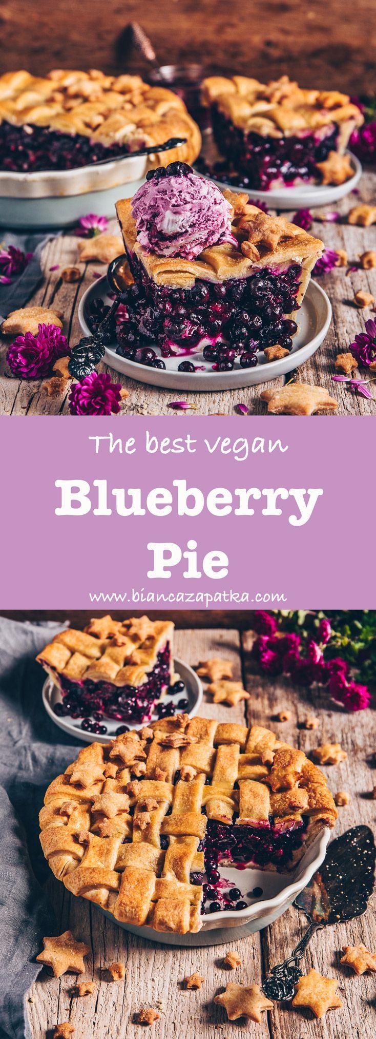 Blueberry Pie (vegan, easy blueberry pie with ice cream, juicy, fruity, crisp, flaky pie crust, easy vegan pastry recipe with lattice design, the bestblueberry pie with ice cream, juicy, fruity, crisp, flaky pie crust, easy vegan pastry recipe with lattice design, the best