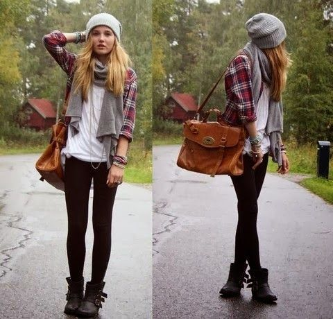 Casual Fall Outfit With Beanie.Scarf and Tights