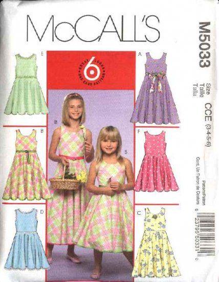 McCall\'s Sewing Pattern 5033 Girls Size 3-6 Easy Sleeveless Sundress ...
