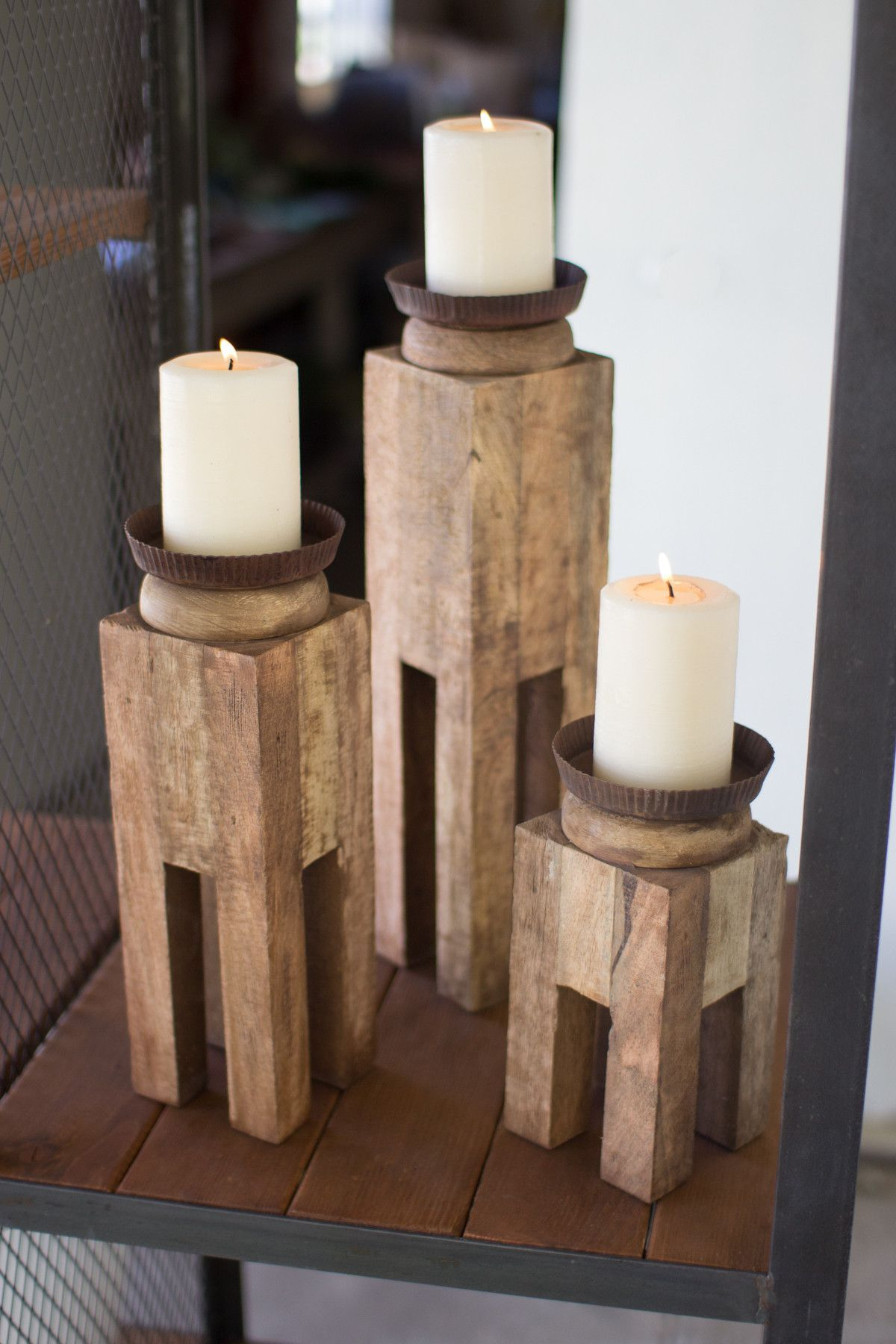 The Kalalou Square Recycled Wood Candle Holders Are Unique Candle Holders To Candelabros De Madera Muebles Hechos Con Palets Portavelas
