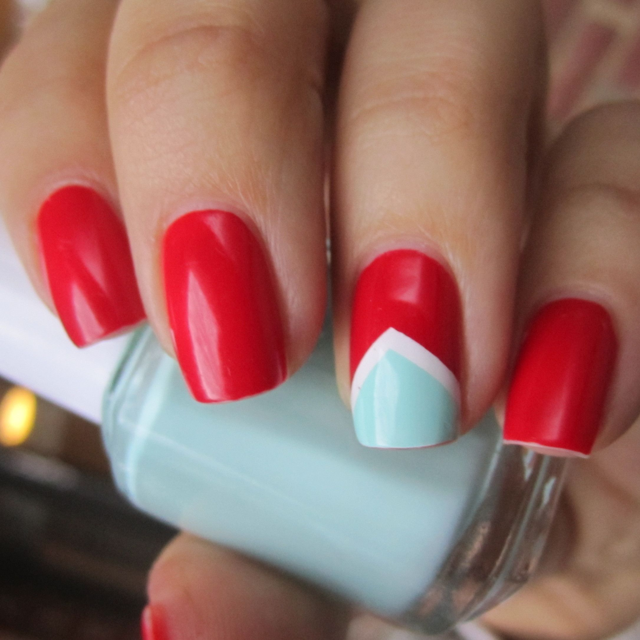 Mint and white chevron accent on red nail art design...different ...