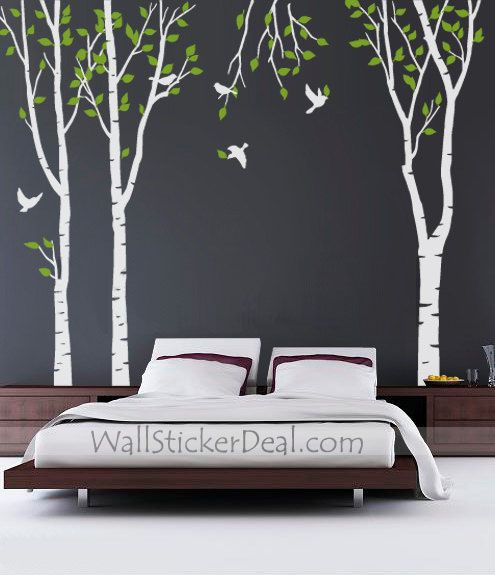 3 green tree forest with birds wall sticker | tree wall decals