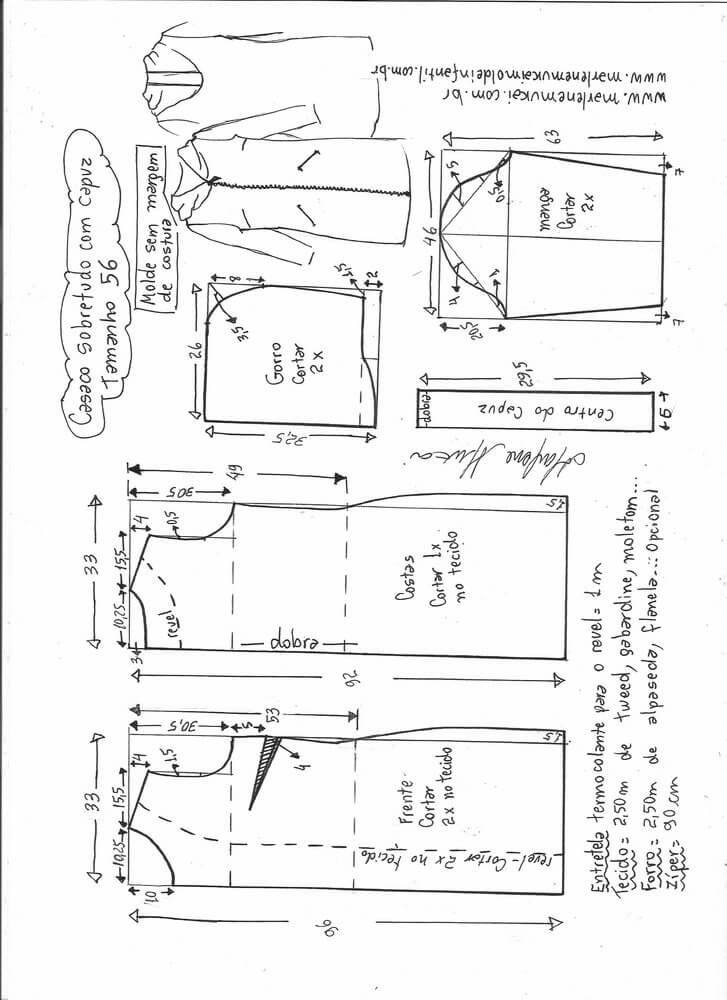 Patrón Chaqueta larga con capucha | costurero de paquita ...