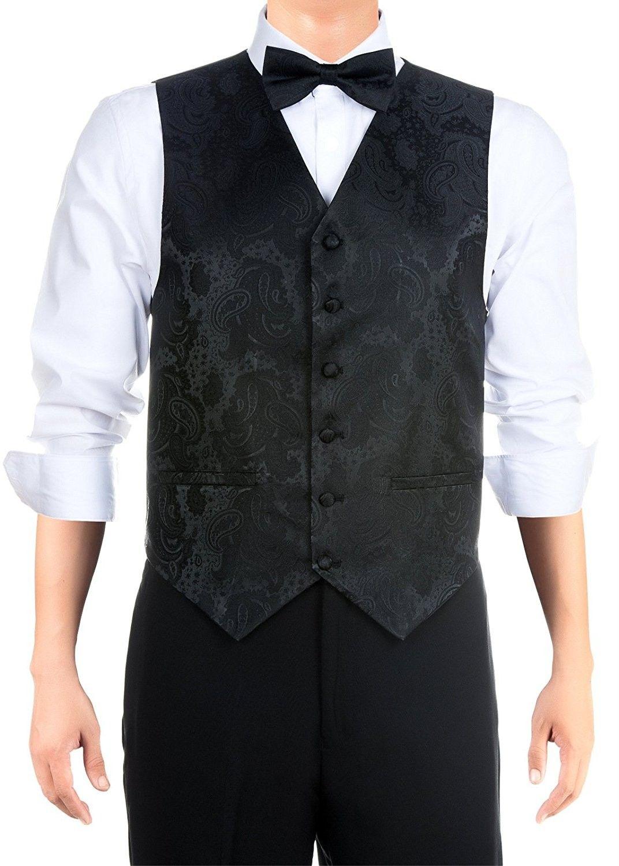 Men S Paisley Textured Woven Vest With Tie Bow Tie Gift Box Set Black Cb1294jx5ct Clothes Mens Suit Vest Unique Mens Vests [ 1500 x 1072 Pixel ]