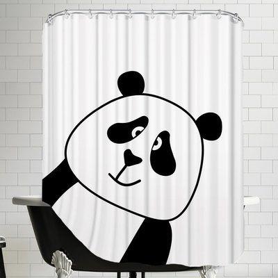 East Urban Home Panda Shower Curtain East Urban Home Curtains