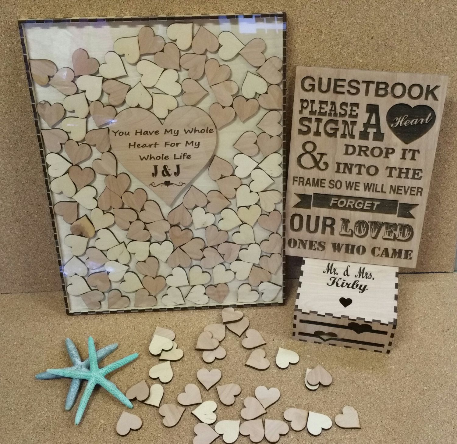 Hearts Rustic Guest Book Oak Wedding Drop Box
